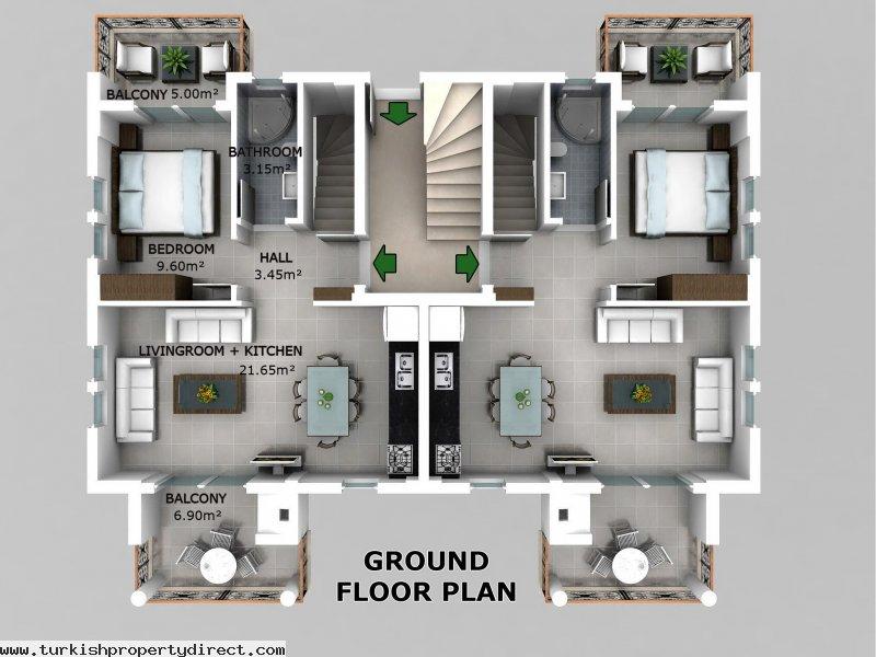 Hisar apartments hisaronu ground floor off plan for Ground floor 3 bedroom plans